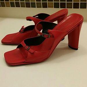 Via Spiga red leather adjustable straps sandal